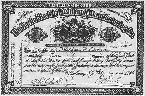 A Stock Certificate From The Tesla Electric Light Company 1885