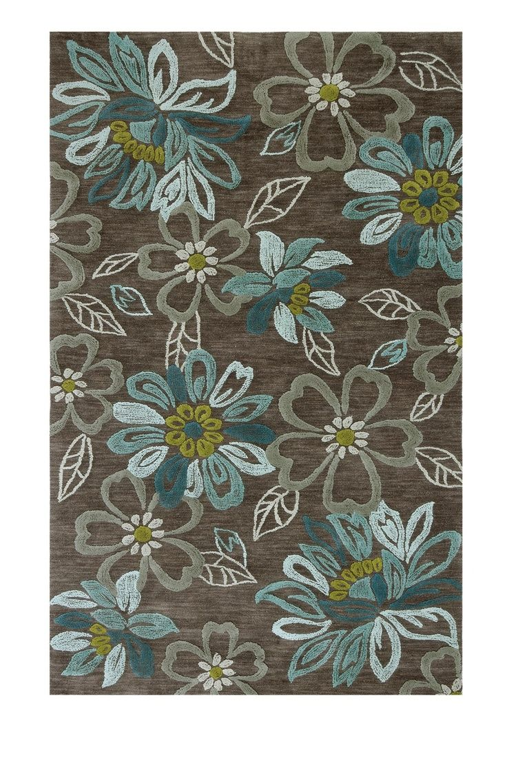 Browntealcream floral area rug