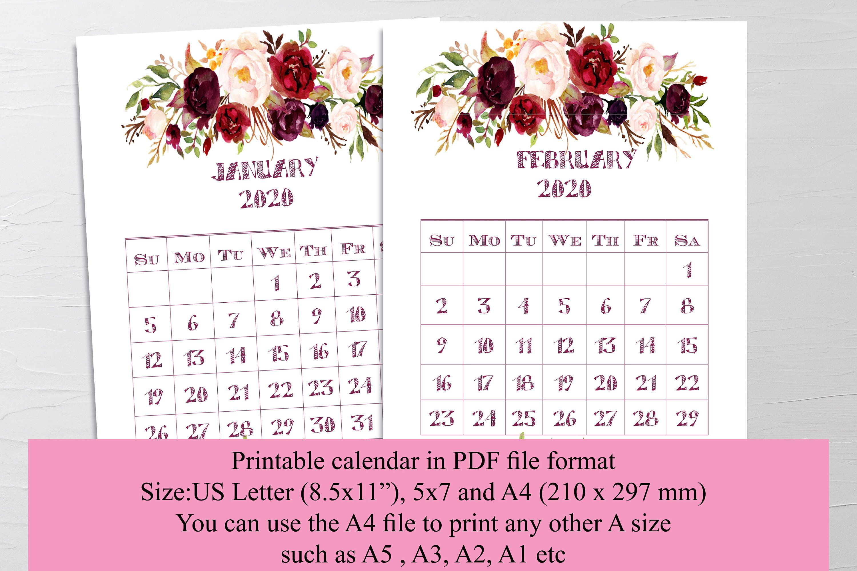 printable calendar 2020 floral calendar printable a4 on show me beautiful wall color id=75276