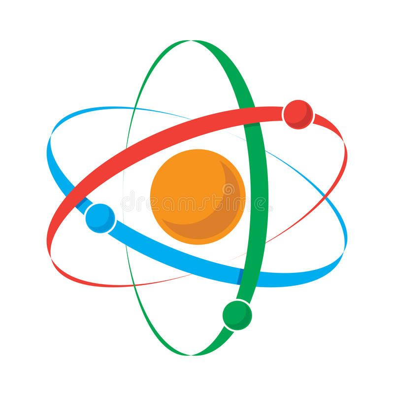 Atom icon Vector illustration of an atom with nucleus and three orbiting partic