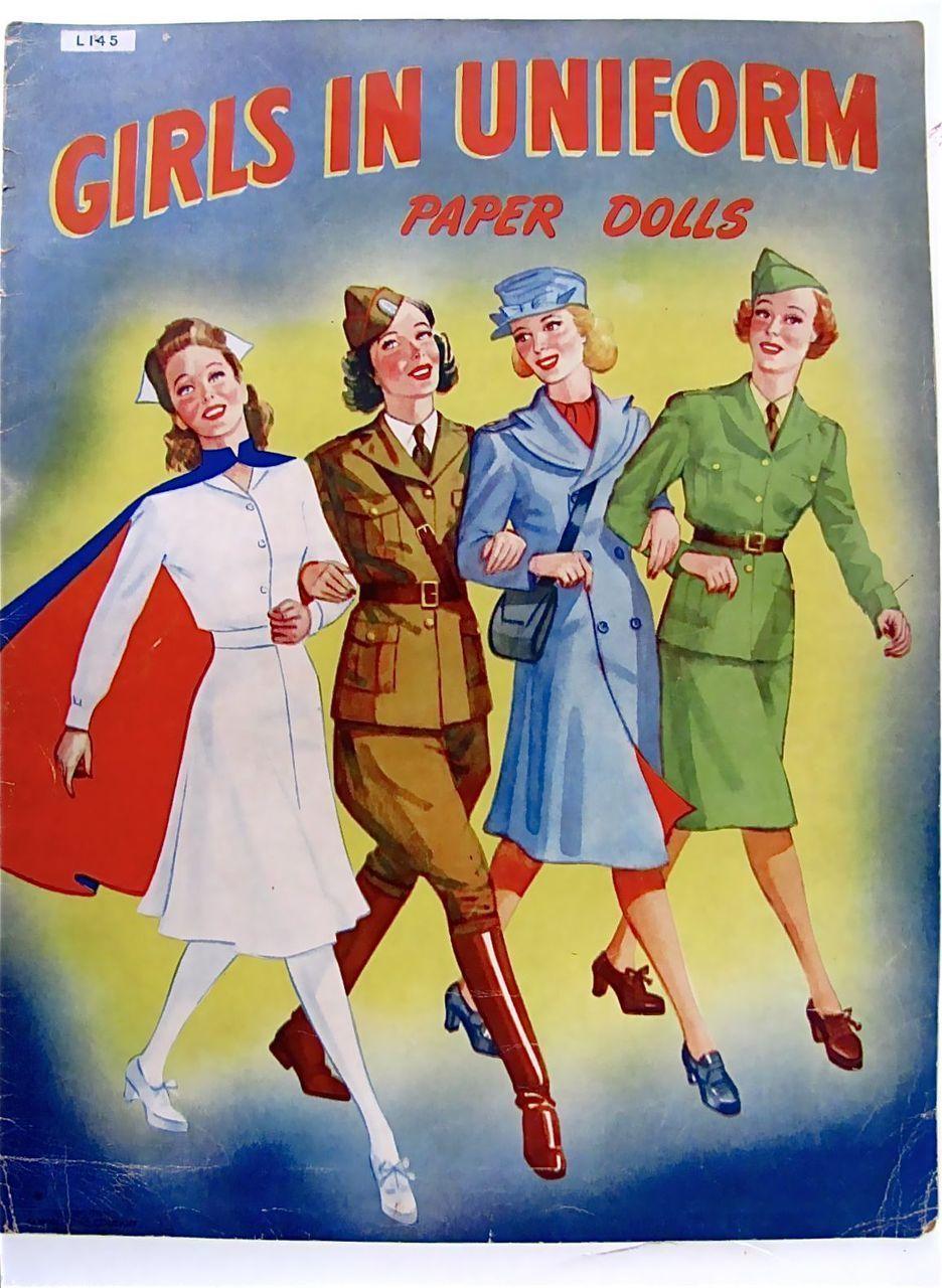 Girls In Uniform Paper Dolls Vintage 1943 Uncut and Complete Samuel from barbgrrlzdolls on Ruby Lane