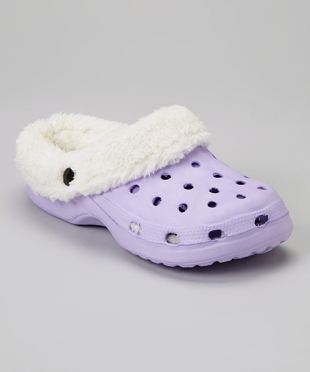 09eab6b98e7ff Lavender fuzzy crocs