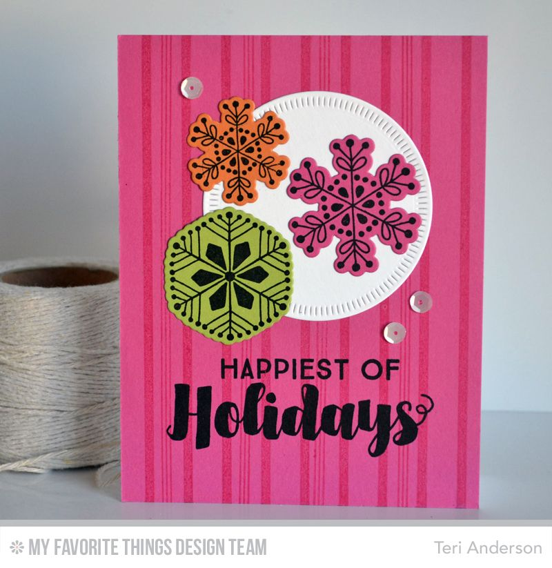 Joyous Christmas Sentiments, Snowflake Flurry, Candy Stripes Background Builder, Radial Stitched Circle STAX Die-namics, Snowflake Flurry Die-namics - Teri Anderson  #mftstamps