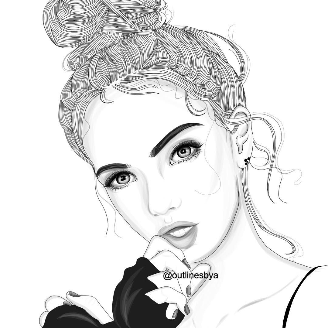 Line Drawing Of Girl Tumblr : Outlines outline tumblr black and white