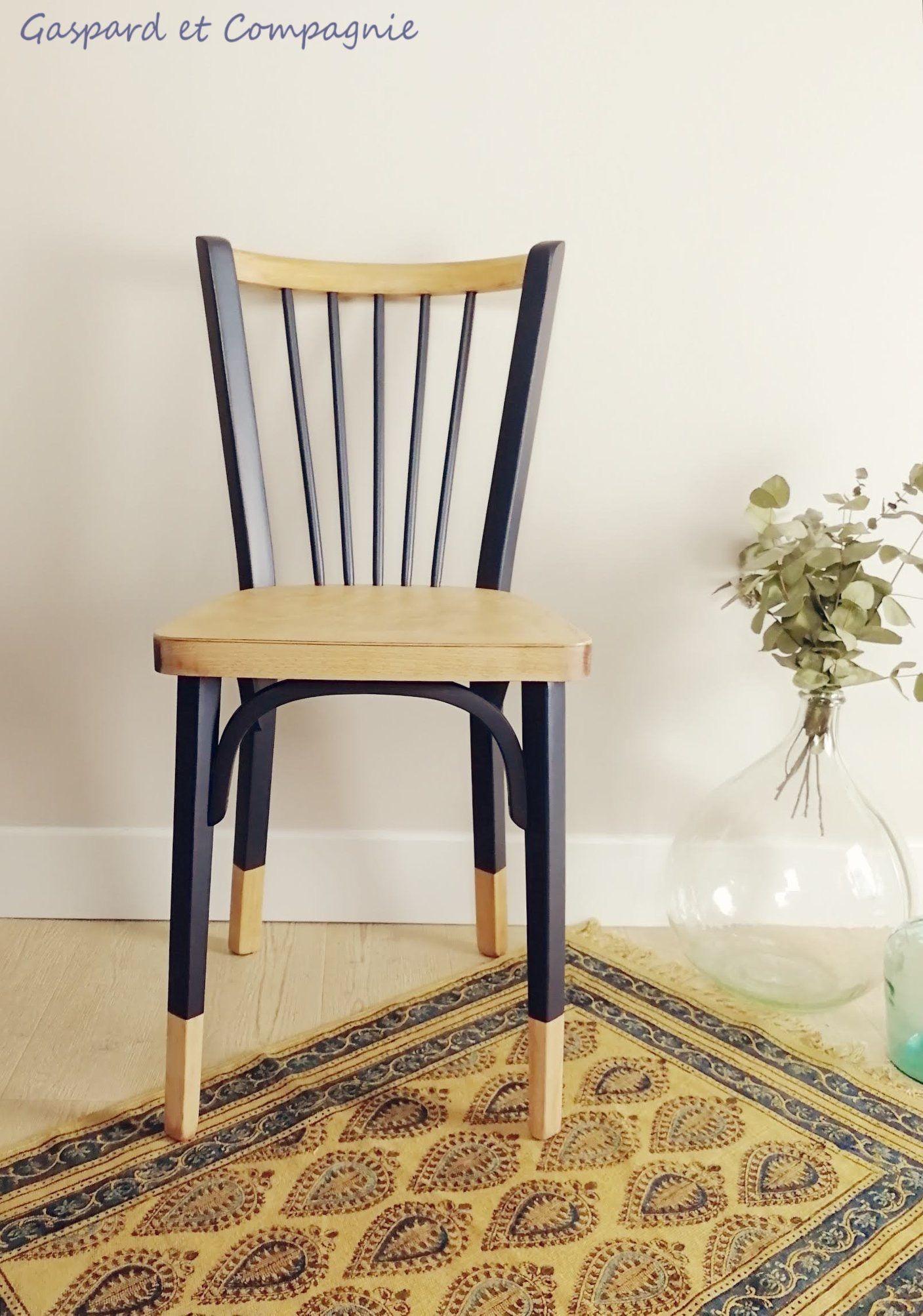 Berthe Chaise Style Bistrot Baumann Relooke Bleu Nuit Dark Blue