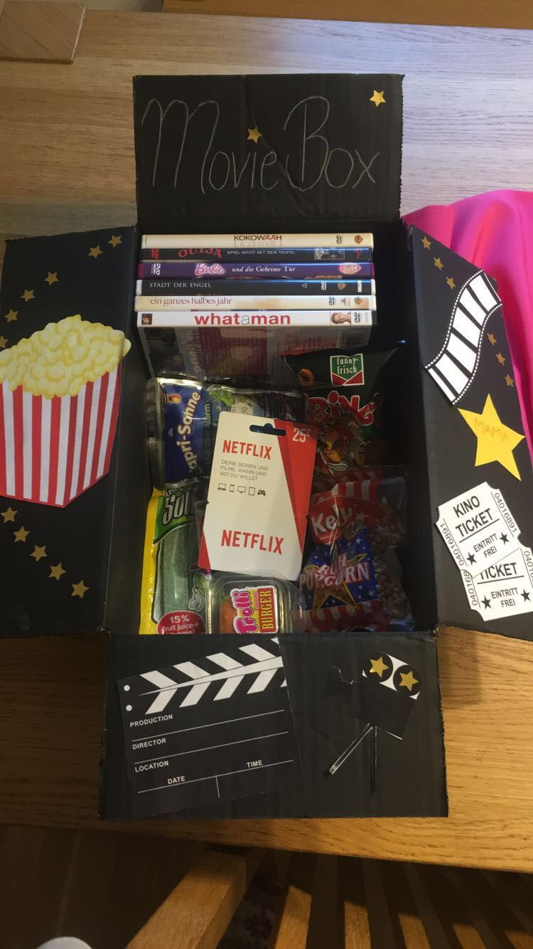 Movie Box As A Present 🎁🎥🎞 Movie Basket Gift Diy Gifts