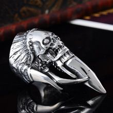 2016 New Mens 316L Stainless Steel Silver Biker Gothic Skull Ring Size 8-13 Rings Unique Fashion Jewelry Over $125 Free Express(China (Mainland))