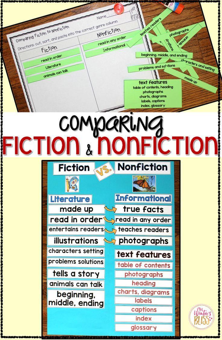 Worksheets Fiction Vs Nonfiction Worksheet fiction vs nonfiction teaching ideas 1st grade comparing and mrswintersbliss firstgrade secondgrade reading
