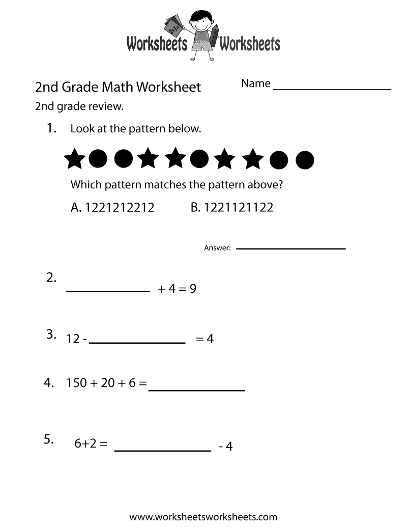 2nd Grade Math Review Worksheet - Free Printable Educational Worksheet    Math review worksheets [ 1035 x 800 Pixel ]