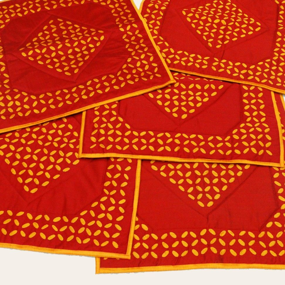 Pooja Aasan Prayer Mats in silky fabrics with applique