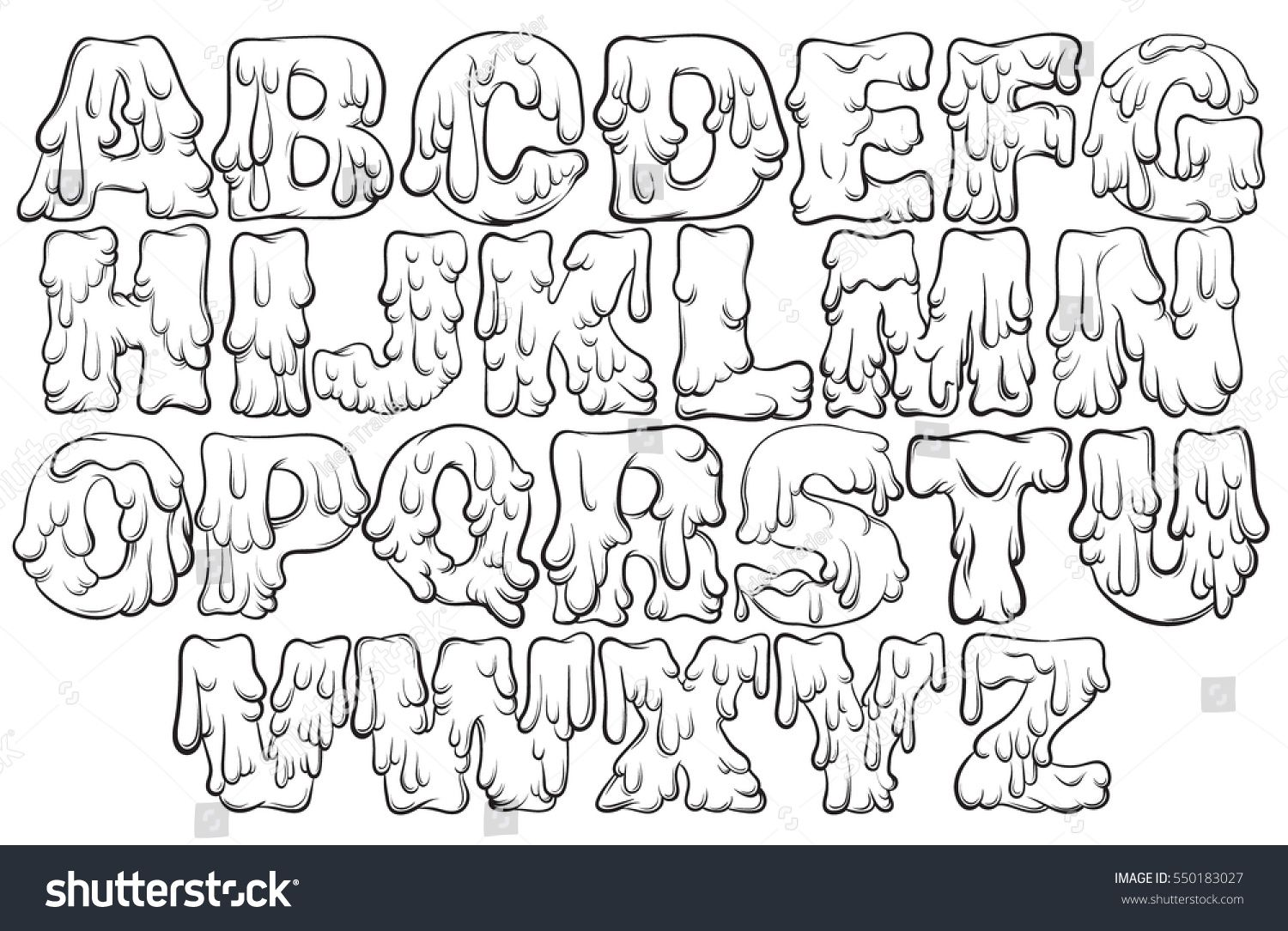 Vector melting type trendy font made in hand drawn line style cute font for card poster banner print for t shirt