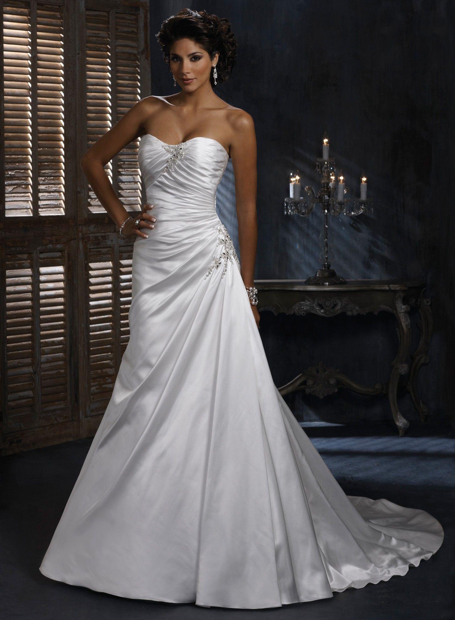 Satin A-line Dipped Strapless Neckline Wedding Dress | A-line ...