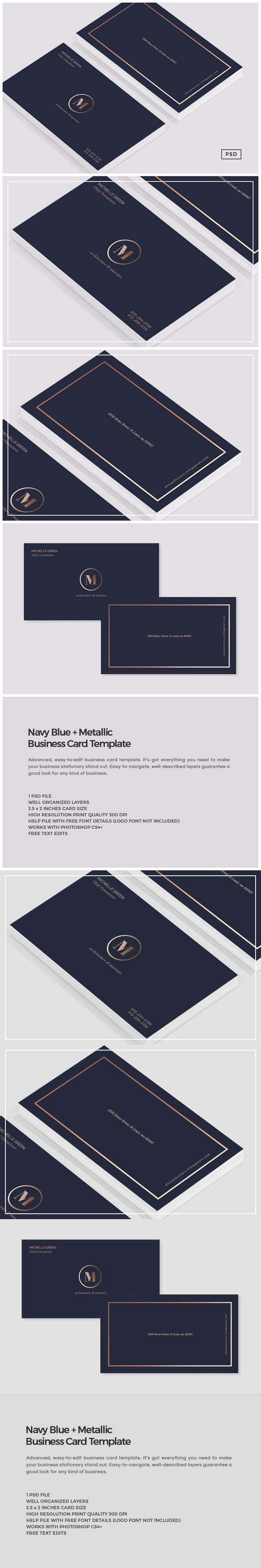 Navy Blue Metallic Business Card Formal Business Card Business Cards Creative Templates Business Card Template