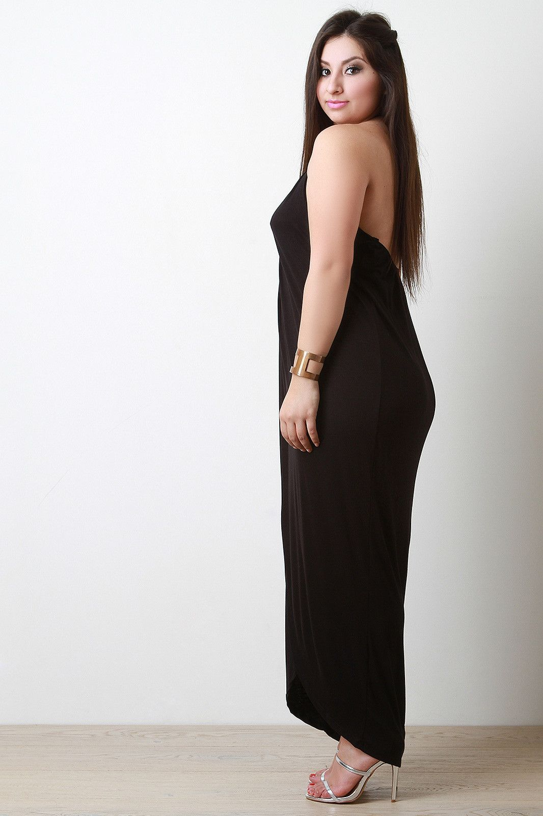Halter front slit maxi dress products pinterest products