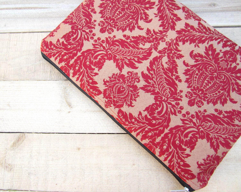 Red damask MacBook Air 11 sleeve zipped, MacBook Air 11 case