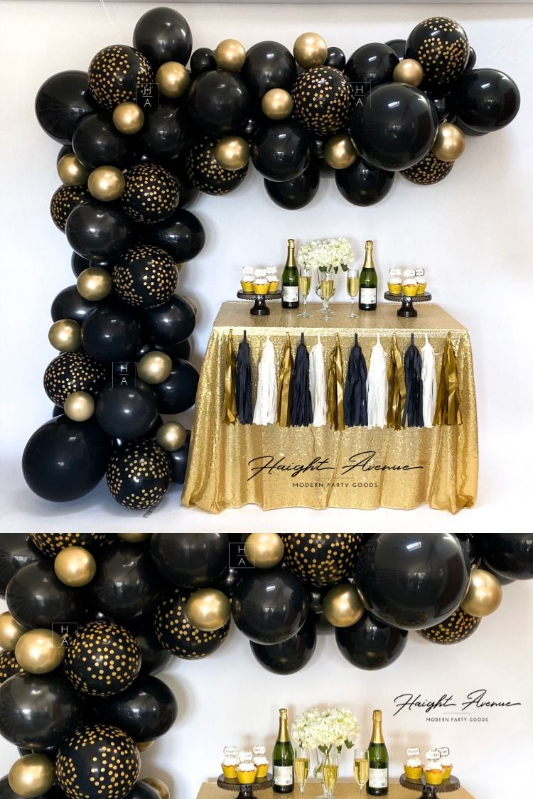 GATSBY | DIY Balloon Garland Kit! Black and Gold Balloons. Perfect for  Gatsby, New Year, Retirement or Graduation parties in 2020 | Black and gold  balloons, 50th birthday party decorations, Black and