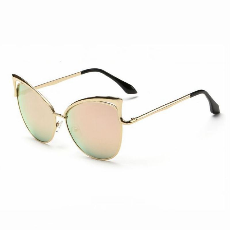 Womens Sexy Cat Eye Sunglasses Cutout Detailing Gold Frame Mirror ...