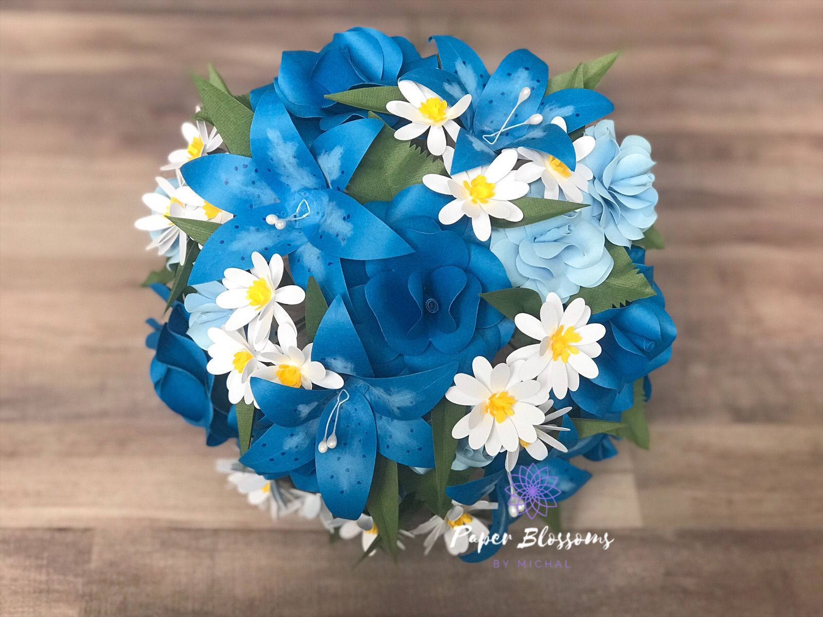 Blue And Daisy Paper Flower Bridal Bouquet Paper Flowers Sale Handmade Bridal Bouquet