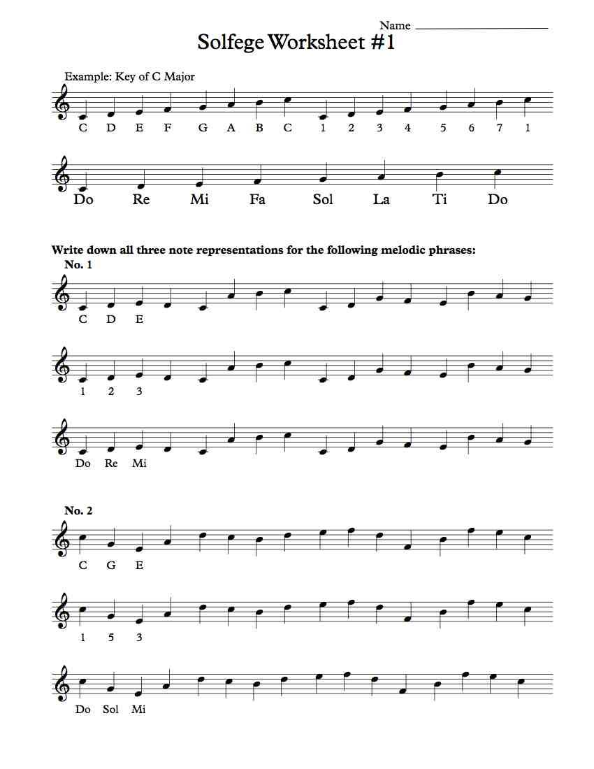 ... piano classes for children. Solfege Worksheet #1