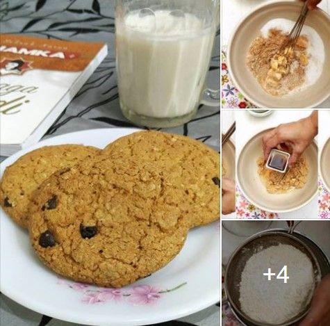 Resepi biskut oatmeal crunchy, resepi oat chocolate chip cookies, resepi biskut oat cookies ala subway, resepi oat chocolate chip cookies homemade