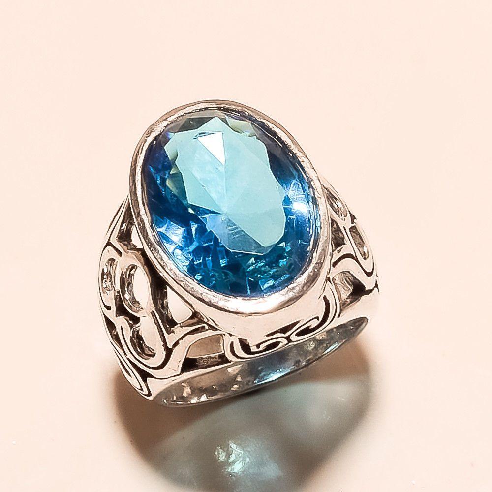 Swiss Blue Topaz Silver Tone Ring Triabl New Year Women