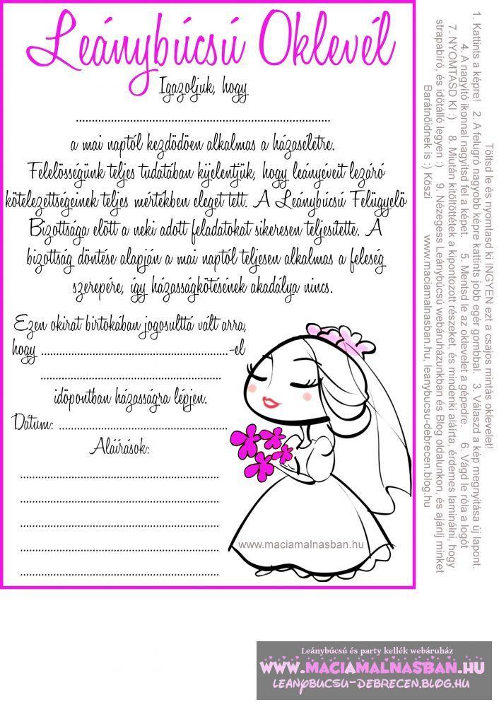 vicces idézetek leánybúcsúra Leánybúcsú OKLEVÉL cuki menyasszony INGYEN letölthető, nyomtatható