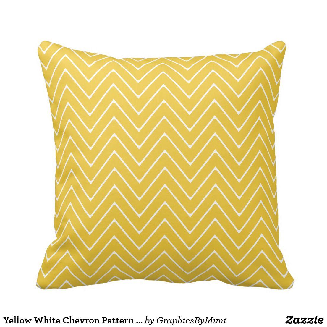Yellow White Chevron Pattern 2a Throw Pillow Zazzle Com Throw Pillows Pillows Yellow Pillows