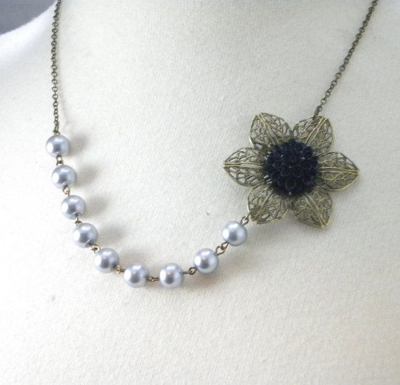 Gray and Black Wedding flower necklace