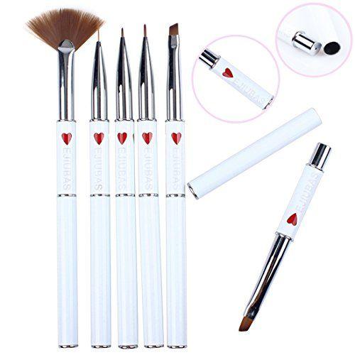 Ejiubas Diy Nail Art Brush Set Nail Stamping Kits 6 Pcs White