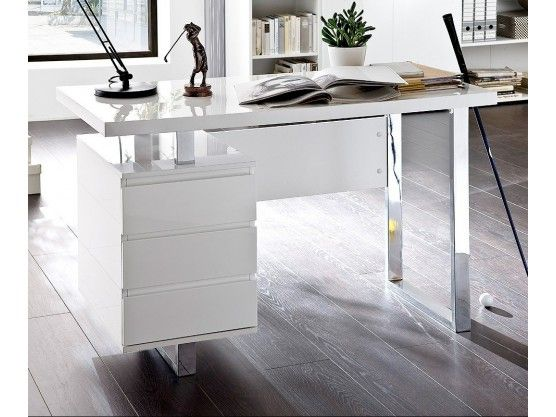 Bureau design blanc laqué avec rangement Numa | Bureaus
