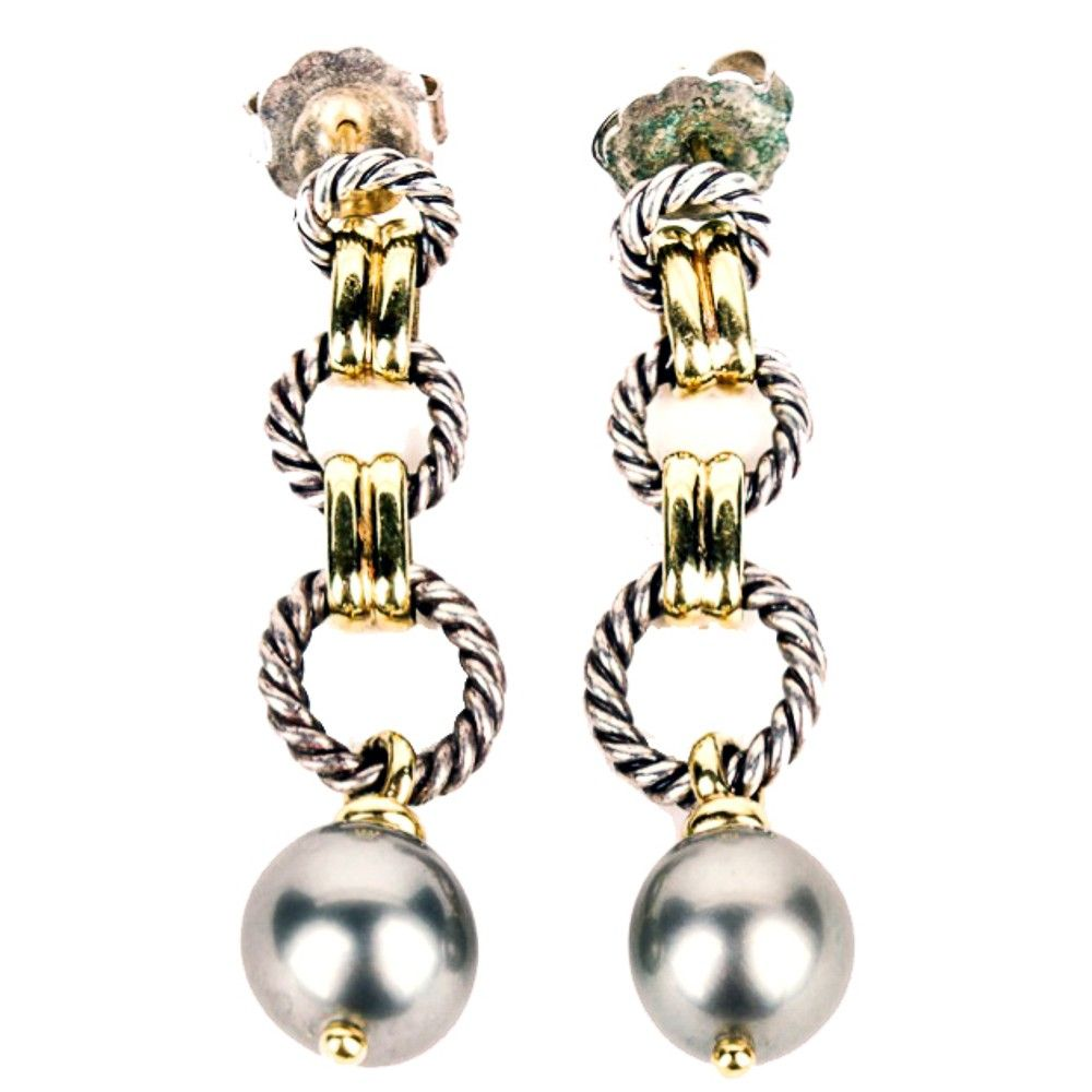 David yurman sterling k gold cable tahitian pearl earrings