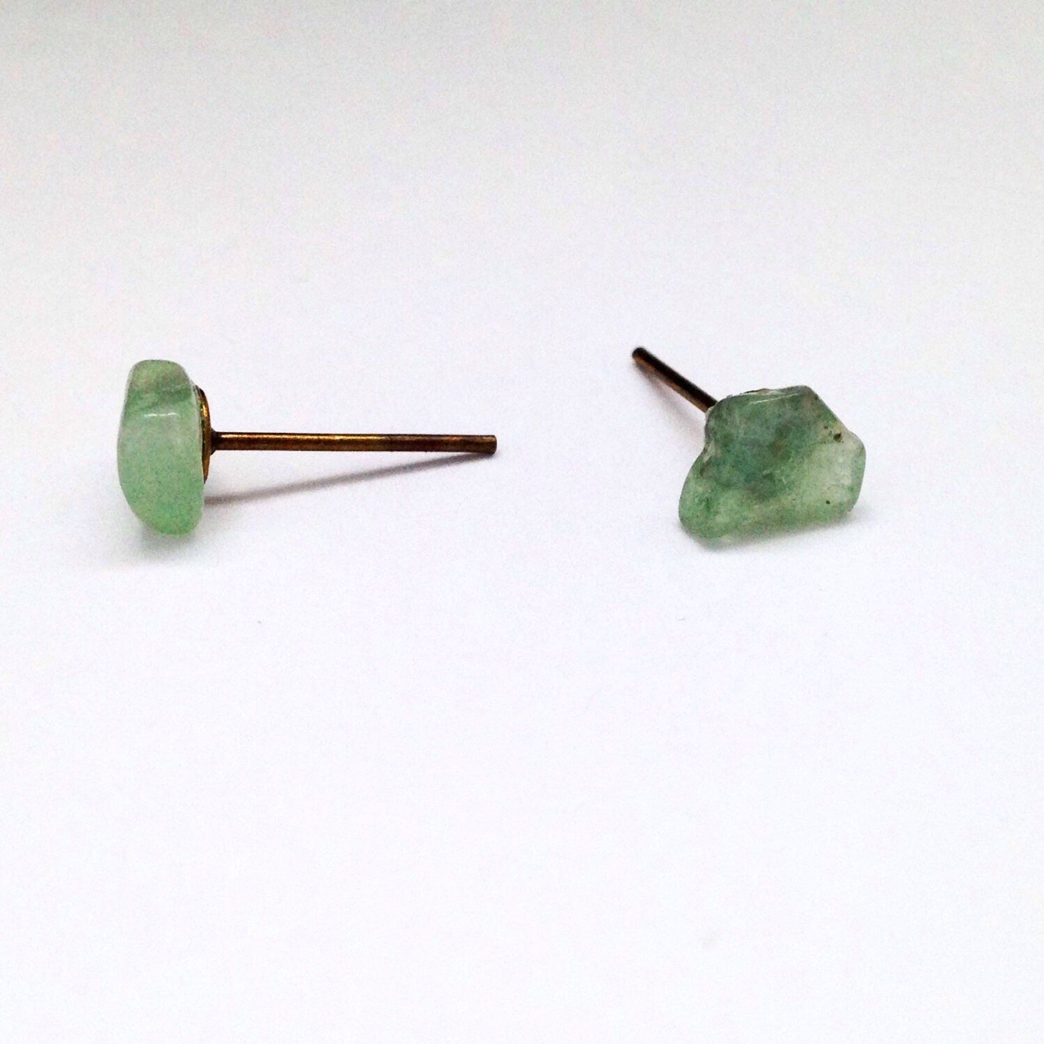 pin stud dome posts earrings stone bronze settings shaped natural and antique