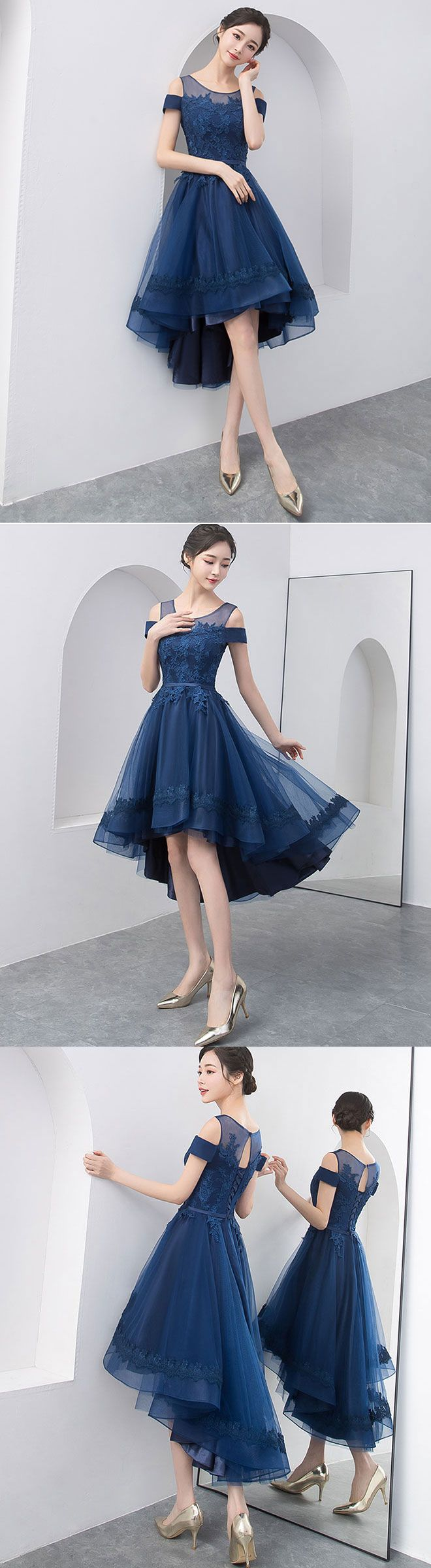 Dark blue lace tulle short prom dress homecoming dress in