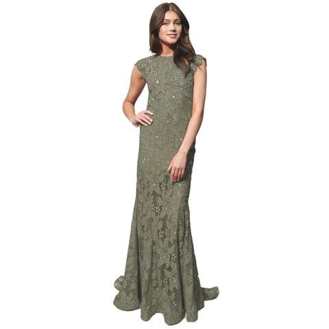 JOVANI olive lace open back short sleeve prom dress 50% off ...