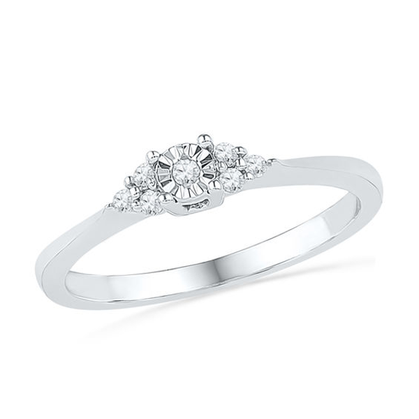 Diamond Swirl Promise Ring With Miracle Setting in Sterling Silver