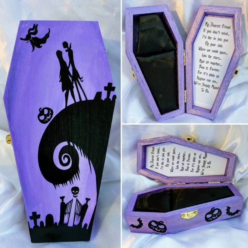 Handmade Nightmare before Christmas We Were Simply Meant to Be... Disneys Tim Burtons Jack & Sally inspired Engagement Coffin Ring box #pictureplacemeant