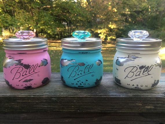 Pastel Mason jar canister set hand painted by AmericanaGloriana