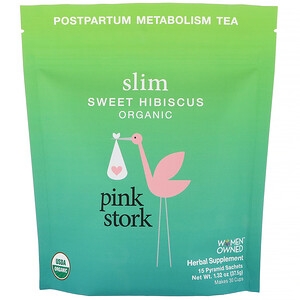 Pink Stork Slim Postpartum Metabolism Tea Sweet Hibiscus 15 Pyramid Sachets 1 32 Oz 37 5 G Iherb 신진대사 히비스커스 산후