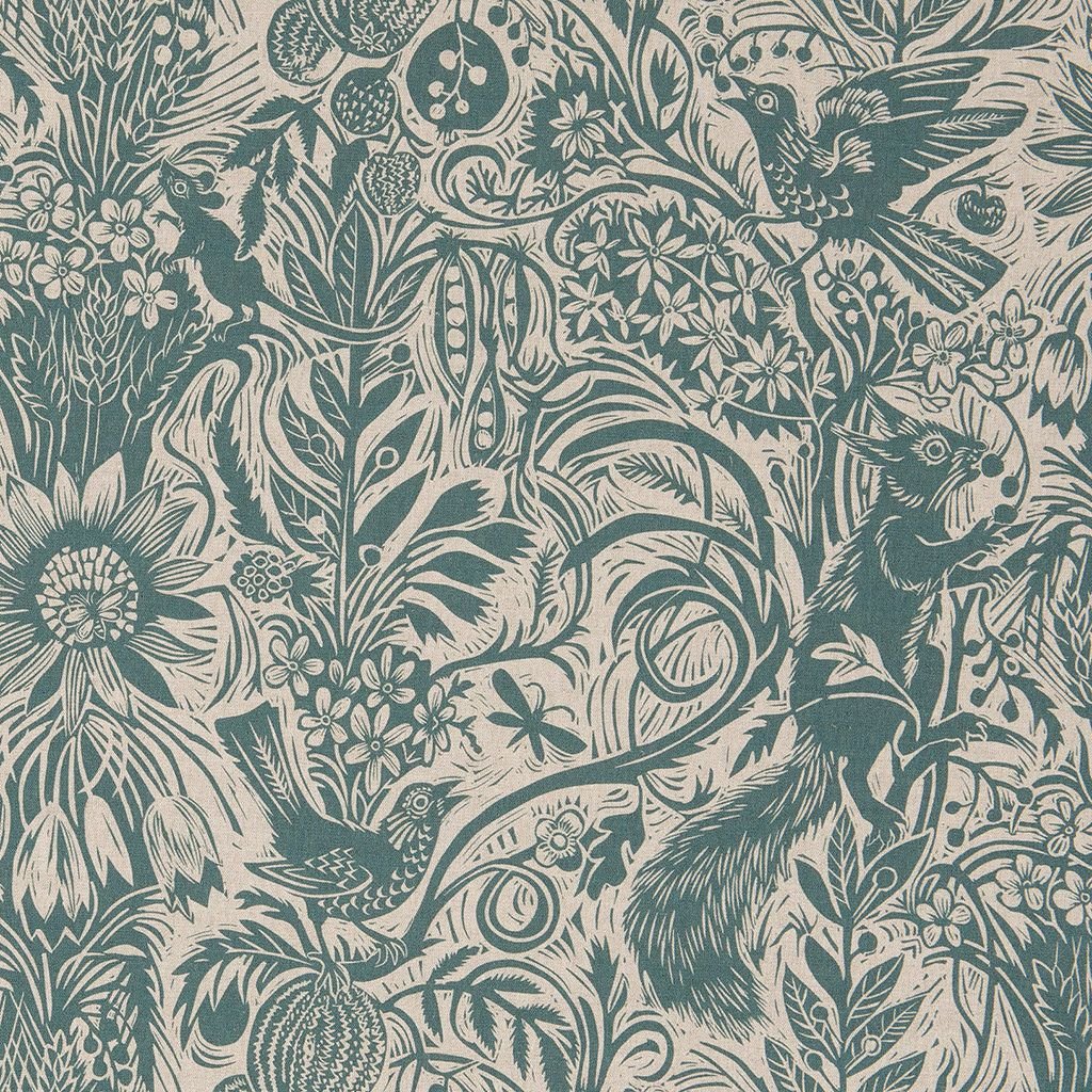Mark Hearld - Squirrel and Sunflower fabric - blue