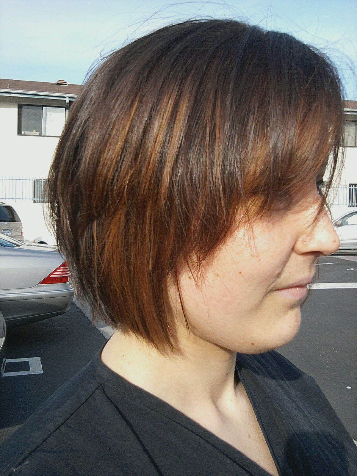 My Haircut Jagged Bob with copper golden brown color