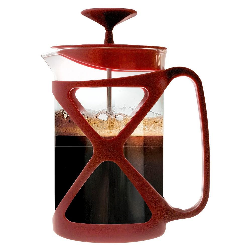 Primula 6Cup Tempo Coffee Press Red, Glass Coffee