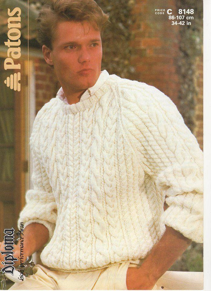 Mens Aran Jumper, Mens Aran Sweater, Mens Knitting Pattern, Mens ...