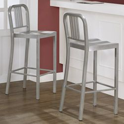 Interiors Silver Metal Bar Stools