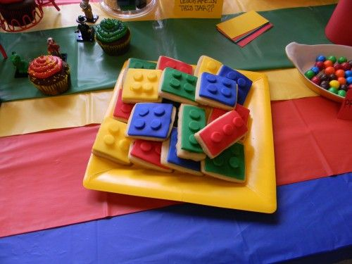 Lego cookies from the Ultimate Lego Birthday Party! So many great ideas in this amazing article!