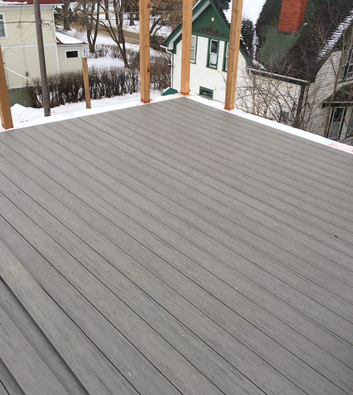 Rooftop Patio Composite Deck Under Construction Timber Tech Earthwood Evolutions Terrain In Silver Maple Rooftop Patio Blue Siding Deck