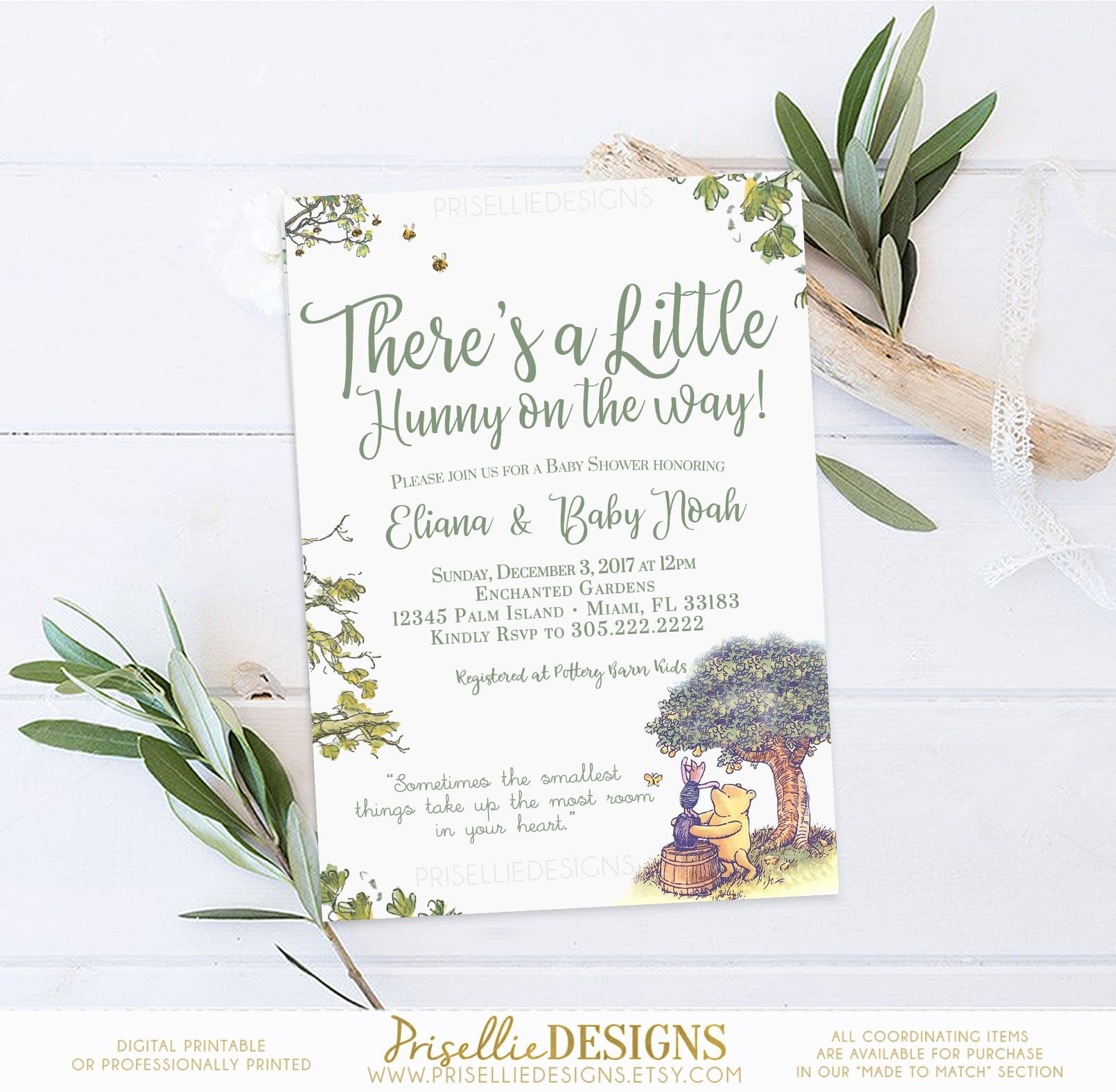 Winnie the Pooh Baby Shower Invitation Classic Winnie the Pooh Baby
