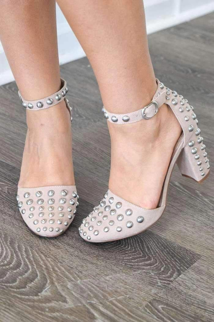 2ccd1dae70b These blush colored sandal heels have polished silver studs