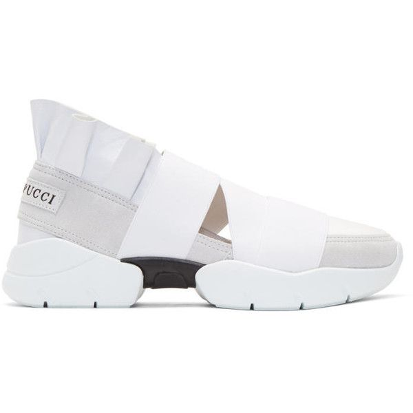 Emilio Pucci White & Grey Ruffle Sneakers outlet countdown package vJSxYendu
