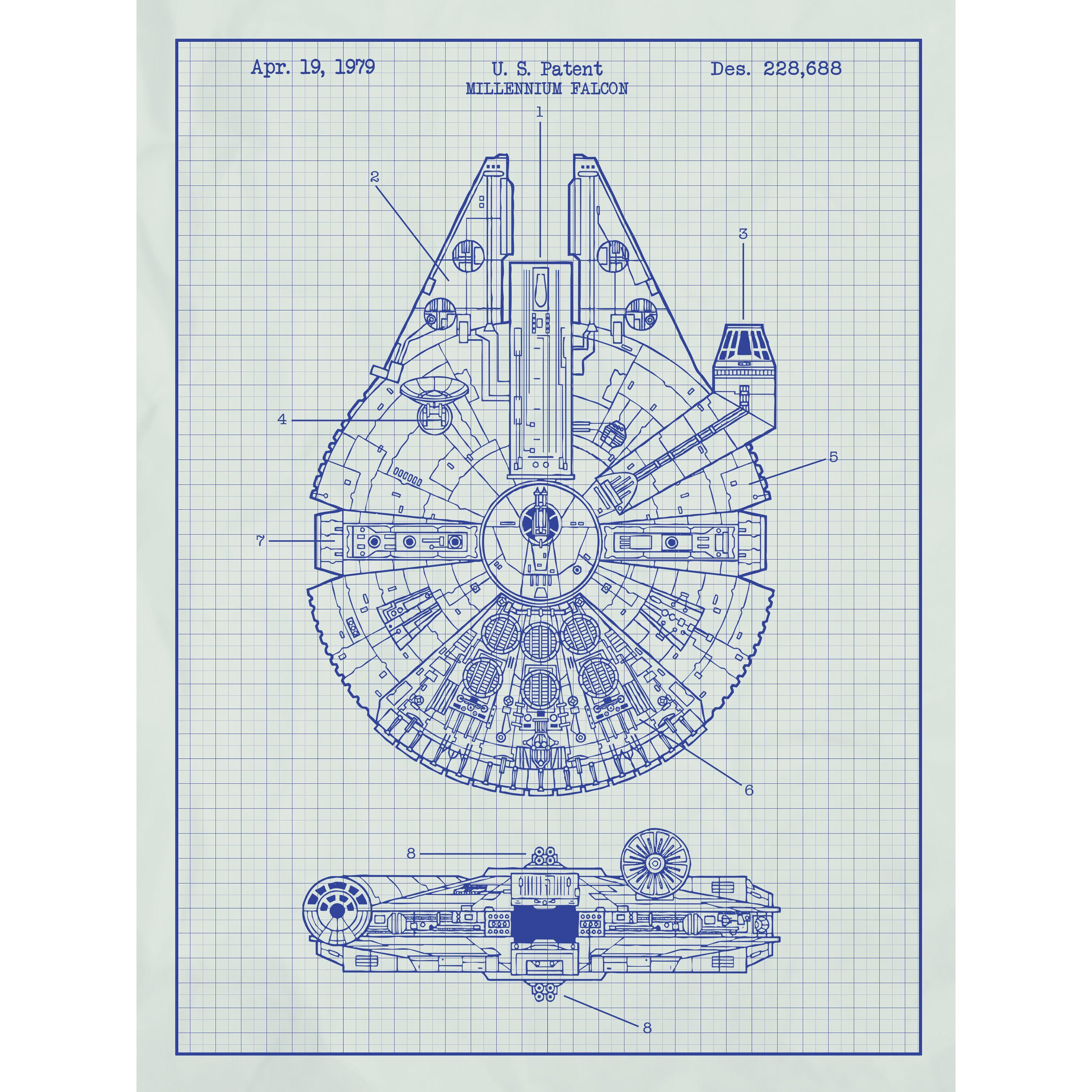 Star wars millennium falcon blueprint graphic art poster in white star wars millennium falcon blueprint graphic art poster malvernweather Images