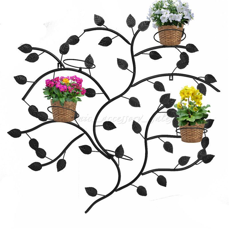 Black Iron Wall Mounted Potted Plants Stand With 5 Circle Holder